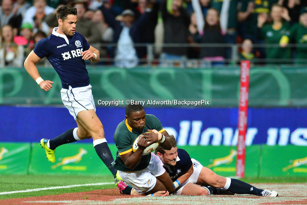 Lwazi Mvovo of South Africa scores a try during the 2014 Castle Lager Incoming Series rugby test match between South Africa and Scotland at the Nelson Mandela Bay Stadium in Port Elizabeth, South Africa on June 27, 2014 ©Barry Aldworth/BackpagePix