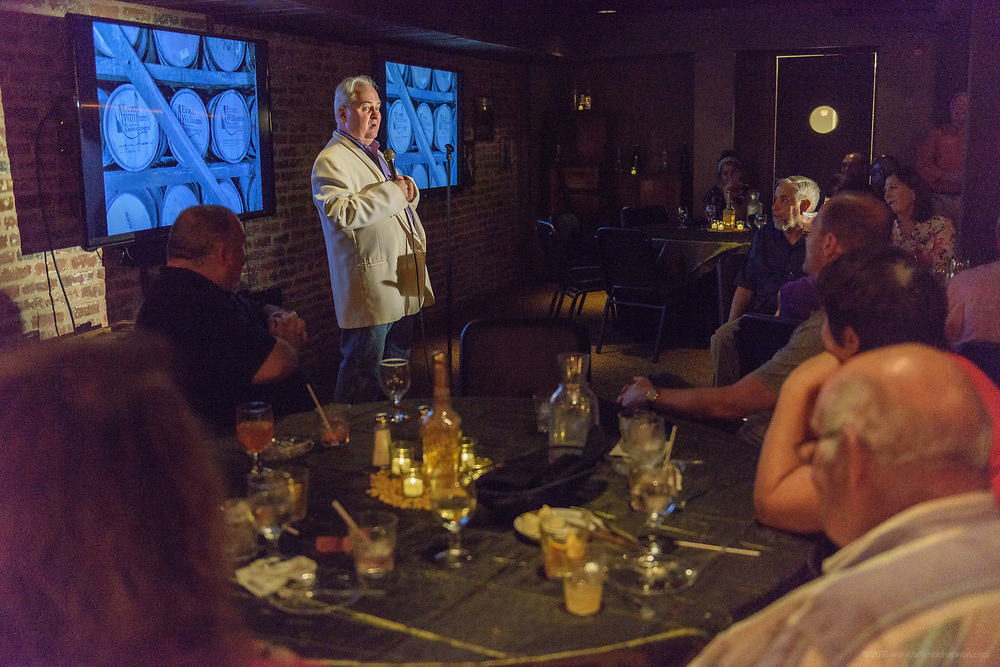 "For Father's Day, Heaven Hill Distilleries - Evan Williams Bourbon Experience presents, ""At Least 51% Corny: A Dinner Celebrating Dad,"" a three-course dinner and signature cocktails in their secret speakeasy Saturday June 16, 2017 at 528 W. Main St., across from The Kentucky Center in downtown Louisville, Ky. (Photo by Brian Bohannon)"