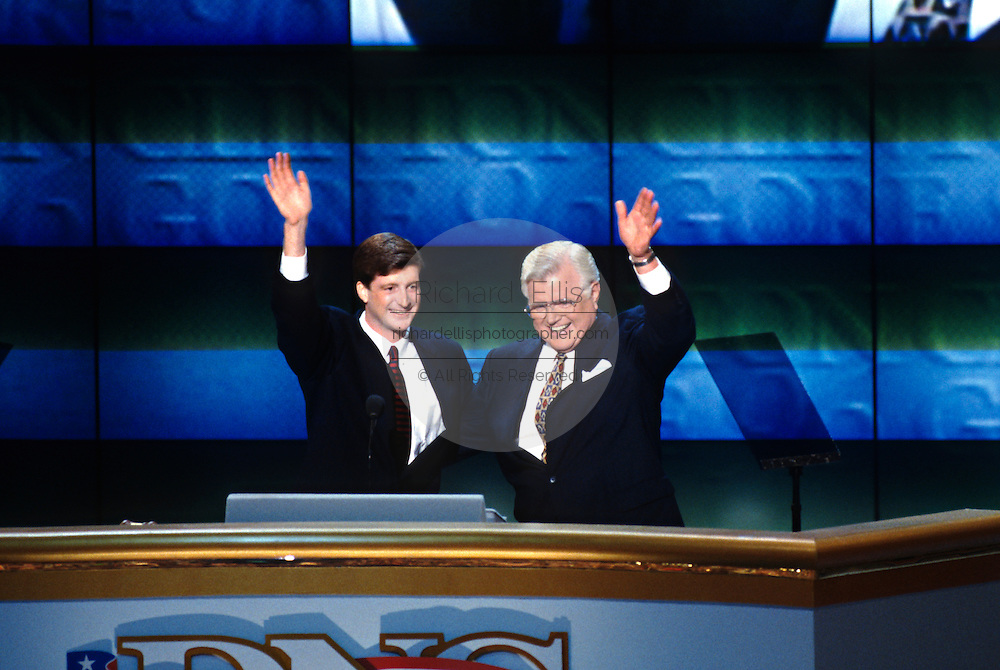 U.S Senator Ted Kennedy and son son Rep. Patrick Kennedy wave after addressing the 1996 Democratic National Convention August 29, 1996 in Chicago, IL.