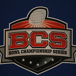 January 5, 2012; New Orleans, LA, USA; A sign for the BCS Championship Series is seen at the Alabama Crimson Tide team practice for the 2012 BCS National Championship game to be played on January 9, 2012 against the LSU Tigers at the Mercedes-Benz Superdome.  Mandatory Credit: Derick E. Hingle-US PRESSWIRE