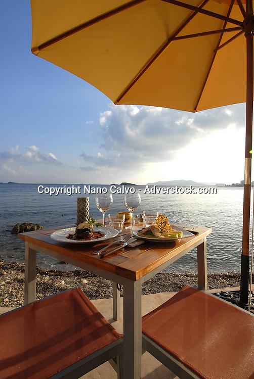French restaurant Soleado, in Figueretas beach, Ibiza, Spain