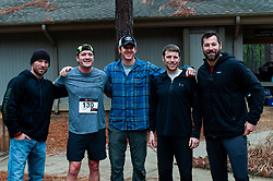 January 19, 2019 - Southern Pines, North Carolina, US - Jan. 19, 2019 - Southern Pines N.C., USA - Members of the Hoodlums and Brigands relay team celebrate after winning the relay division at the 10th Annual Weymouth Woods 100km ultra marathon at the Weymouth Woods Nature Preserve. Runners needed to complete 14 laps of the 4.47 mile course for 62.58 miles in under the 20-hour time allotment. Pictured are:  Chad Maddox, David Waters, Ed Canon, Joe Reynes, Alex Totten-Lance, and J.R. Reidenbaker. (Credit Image: © Timothy L. Hale/ZUMA Wire)