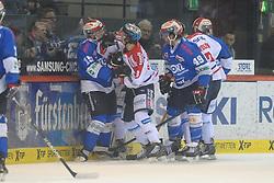 20.02.2015, Helios-Arena, Schwenningen, GER, DEL, Schwenninger Wild Wings vs Eisbären Berlin, 49. Runde, im Bild (l.) Stephan Wilhelm (Schwenninger Wild Wings) im Fight mit (r.) Jonas Mueller (Eisbaeren Berlin), // during Germans DEL Icehockey League 49th round match between Schwenninger Wild Wings and Eisbären Berlin at the Helios-Arena in Schwenningen, Germany on 2015/02/20. EXPA Pictures © 2015, PhotoCredit: EXPA/ Eibner-Pressefoto/ Laegler<br /> <br /> *****ATTENTION - OUT of GER*****