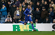 Goal celebration by Cardiff City defender Sean Morrison (4) during the EFL Sky Bet Championship match between Leeds United and Cardiff City at Elland Road, Leeds, England on 3 February 2018. Picture by Paul Thompson.
