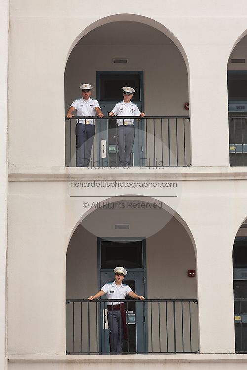 Upperclass cadets watch incoming Citadel freshman known as a knobs during matriculation day on August 17, 2013 in Charleston, South Carolina. The Citadel is a state military college that began in 1843.