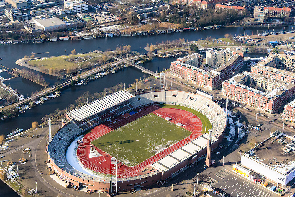 Nederland, Noord-Holland, Amsterdam, 14-02-2017; Olympisch Stadion, Stadionplein<br /> Olympic stadion.<br /> luchtfoto (toeslag op standard tarieven);<br /> aerial photo (additional fee required);<br /> copyright foto/photo Siebe Swart