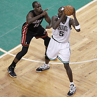 01 June 2012: Miami Heat center Joel Anthony (50) defends on Boston Celtics power forward Kevin Garnett (5) during the first half of Game 3 of the Eastern Conference Finals playoff series, Heat vs Celtics, at the TD Banknorth Garden, Boston, Massachusetts, USA.