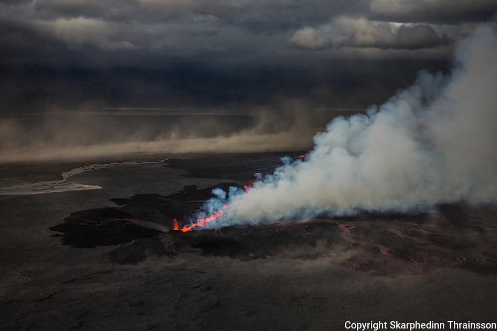 Erupting volcano in Holuhraun, Iceland 2014.