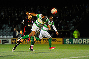 Getting close. Yeovil Town's Shaun Jeffers tries to get his head to a cross during the The FA Cup Third Round Replay match between Yeovil Town and Carlisle United at Huish Park, Yeovil, England on 19 January 2016. Photo by Graham Hunt.