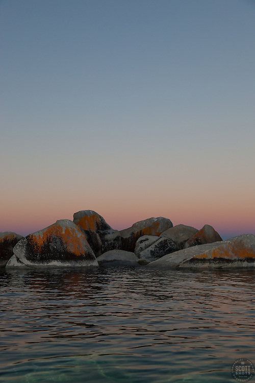 """Tahoe Boulders at Sunrise 10"" - These orange, black, and grey boulders were photographed at sunrise from a kayak near Speedboat Beach, Lake Tahoe."