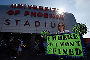 Feb 1, 2015; Glendale, AZ, USA; Seattle Seahawks fan Amy Anderson poses for a photo before Super Bowl XLIX against the New England Patriots at University of Phoenix Stadium. The Patriots defeated the Seahawks 28-24.