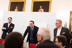 """12.02.2019, Bundesministerium Öffentlicher Dienst und Sport, Wien, AUT, Bundesregierung, Pressekonferenz """"Strategisch-Personelles"""", im Bild Vizekanzler Heinz-Christian Strache (FPÖ) und Pressesprecher Martin Glier // Austrian Vice Chancellor Heinz-Christian Strache during a media conference in Vienna, Austria on 2019/02/12, EXPA Pictures © 2019, PhotoCredit: EXPA/ Michael Gruber"""
