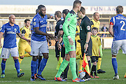 Eastleigh players during the Vanarama National League match between Southport and Eastleigh at the Merseyrail Community Stadium, Southport, United Kingdom on 17 December 2016. Photo by Pete Burns.