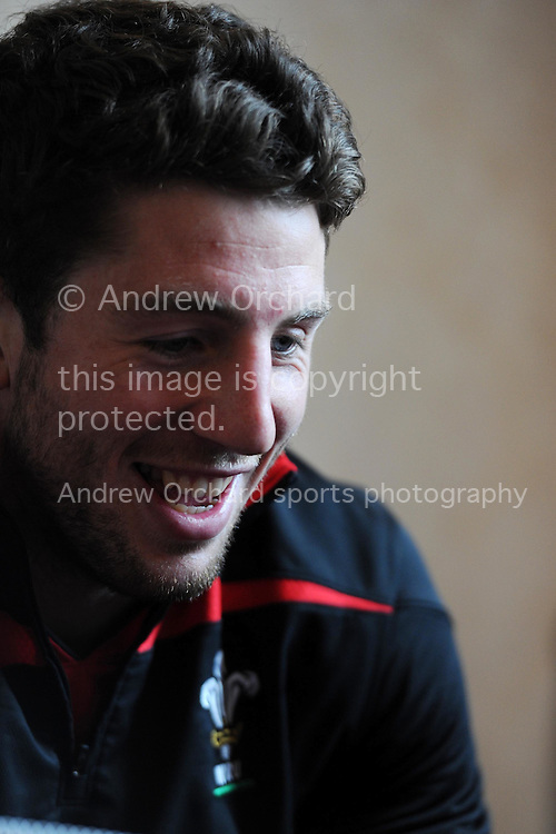 Wales player Alex Cuthbert.  Wales rugby team press conference at the Vale , Hensol, near  Cardiff , South Wales on Thursday 15th March 2012 ahead of their final 2012 RBS six nations match on Sat. .  pic by Andrew Orchard, Andrew Orchard sports photography,