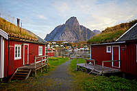 Looking past rorbuers (fisherman cabins) as the sun rises in the fishing village of Reine in the Lofoten Islands of Norway