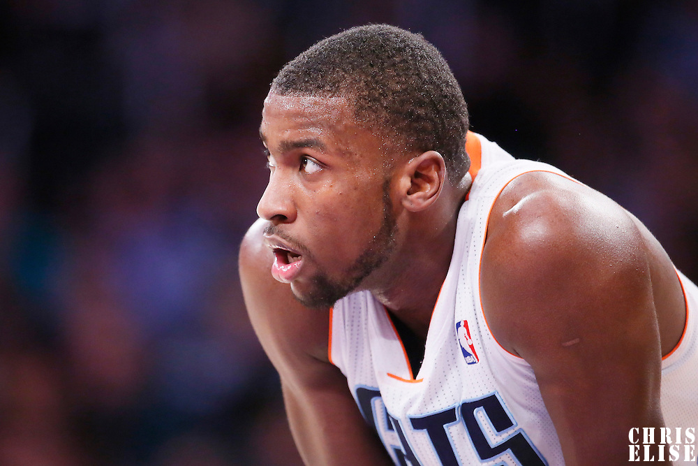 31 January 2014: Charlotte Bobcats small forward Michael Kidd-Gilchrist (14) rests during the Charlotte Bobcats 110-100 victory over the Los Angeles Lakers at the Staples Center, Los Angeles, California, USA.