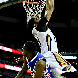 Feb 19, 2016; New Orleans, LA, USA; New Orleans Pelicans forward Anthony Davis (23) dunks over Philadelphia 76ers forward Jerami Grant (39) during the first quarter of a game at the Smoothie King Center. Mandatory Credit: Derick E. Hingle-USA TODAY Sports