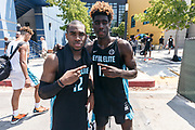THOUSAND OAKS, CA Sunday, August 12, 2018 - Nike Basketball Academy. De&rsquo;Vion Harmon 2019 #12 of John H. Guyer HS and Kahlil Whitney 2019 #17 of Roselle Catholic HS pose for a photo. <br /> NOTE TO USER: Mandatory Copyright Notice: Photo by Jon Lopez / Nike