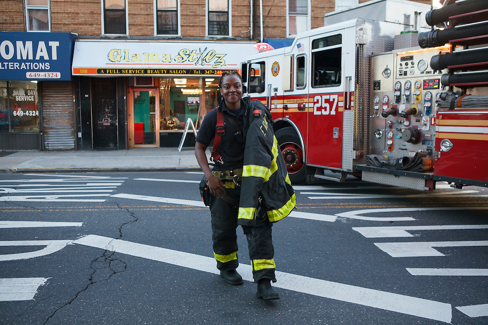 Firefighter Melissa Bennett arrives at the quarters of Engine 257 after a run, 1361 Rockaway Parkway, Brooklyn, NY on Tuesday, Oct. 6, 2015.<br /> <br /> Andrew Hinderaker for The Wall Street Journal<br /> NYFDNY