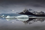 Fjallsárlón is a glacial lake that pours down from a glacier on the massive Vatnajökull ice-field, in South-East Iceland.