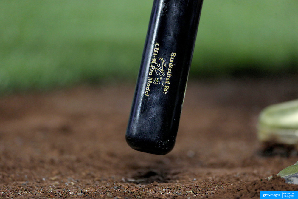 NEW YORK, NEW YORK - July 08: The bat of Bryce Harper #34 of the Washington Nationals as he prepares to bat  during the Washington Nationals Vs New York Mets regular season MLB game at Citi Field on July 08, 2016 in New York City. (Photo by Tim Clayton/Corbis via Getty Images)