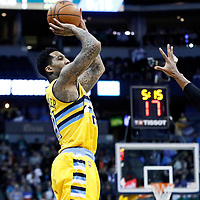10 March 2017: Denver Nuggets forward Wilson Chandler (21) takes a jump shot over Boston Celtics center Al Horford (42) during the Denver Nuggets 119-99 victory over the Boston Celtics, at the Pepsi Center, Denver, Colorado, USA.