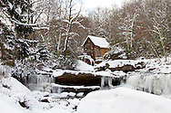 67395-04219 Glade Creek Grist Mill in winter, Babcock State Park, WV