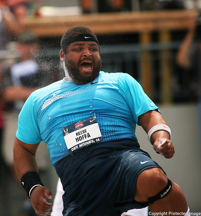 HOFFA - 13USA, Des Moines, Ia.  - Reece Hoffa lets out a yell on his first throw in the finals of the shot put.  Hoffa finished second.  Photo by David Peterson