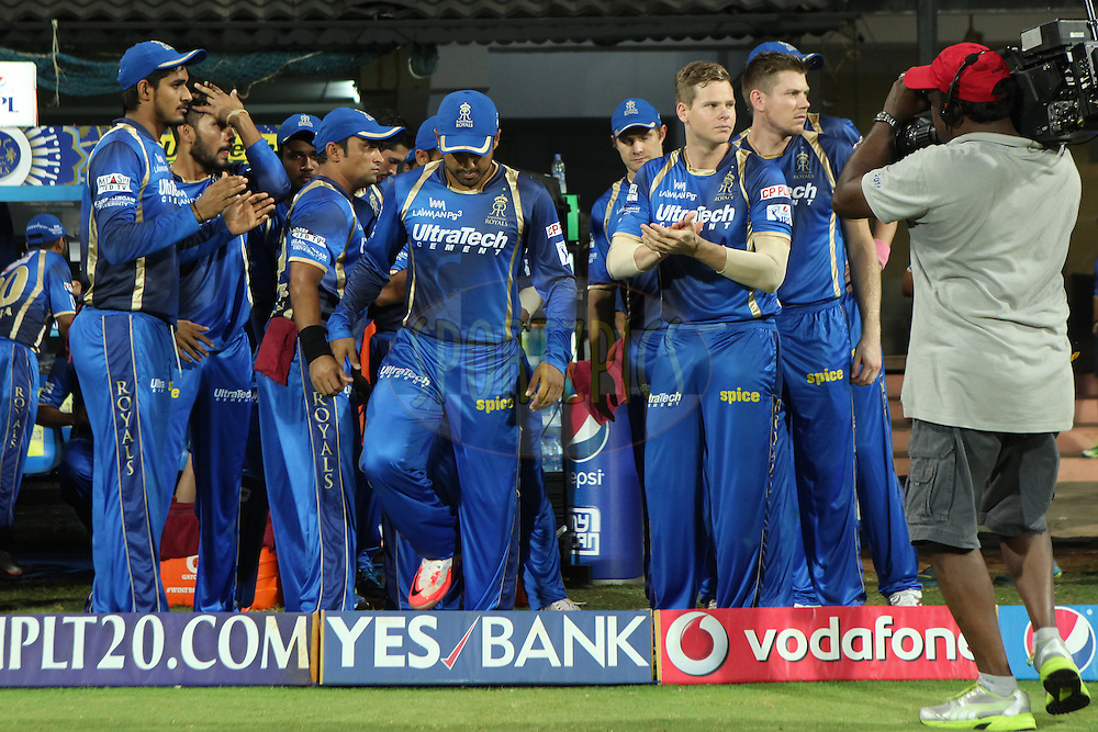 RR team entering the field at first innings during match 47 of the Pepsi IPL 2015 (Indian Premier League) between The Chennai Superkings and The Rajasthan Royals held at the M. A. Chidambaram Stadium, Chennai Stadium in Chennai, India on the 10th May 2015.<br /> <br /> Photo by:  Saikat Das / SPORTZPICS / IPL