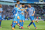 Brighton and Hove Albion defender Connor Goldson (18) celebrates his goal during the The FA Cup match between Brighton and Hove Albion and Coventry City at the American Express Community Stadium, Brighton and Hove, England on 17 February 2018. Picture by Phil Duncan.