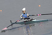 Hazewinkel, BELGIUM, LW1X, Mathilde PAULS, moves down to the start for the A Final, of the Women's Lightweight Single Sculls, at the GB Rowing Senior Trials, on Mon 16.04.2007  [Credit, Peter Spurrier/Intersport-images]   [Mandatory Credit, Peter Spurier/ Intersport Images]. , Rowing Course, Bloso, Hazewinkel. BELGUIM