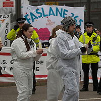 Faslane 14th March  Protesters at Faslane Military base on the Clyde on the day of Westminster vote on Trident Nuclear Missiles