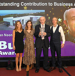 Sean Noone (Westire Technologies Belmullet ) pictured accecpting The Neill O&rsquo;Neill &lsquo;Outstanding Contribution to Business Award&rsquo; from Orla and Aoife O&rsquo;Neill alongside Ciar&aacute;n &Oacute; Murch&uacute; Belmullet Chamber of Commerce at Mayo Business Awards at the Broadhaven Hotel on friday night last.<br /> Pic Conor McKeown
