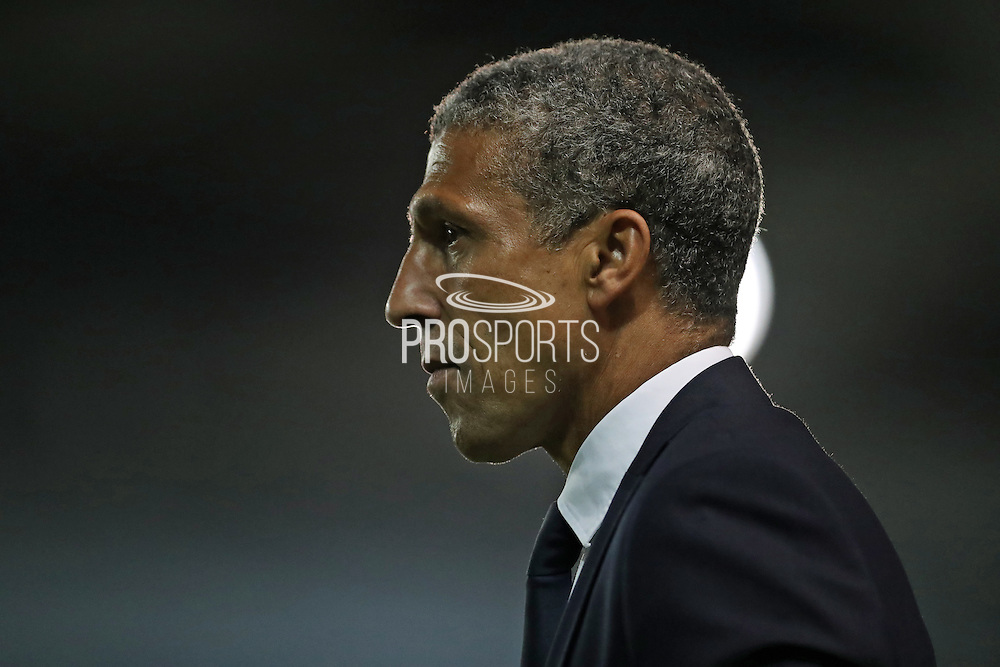 Brighton Manager, Chris Hughton during the EFL Sky Bet Championship match between Brighton and Hove Albion and Nottingham Forest at the American Express Community Stadium, Brighton and Hove, England on 12 August 2016.