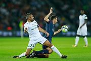 AS Saint Etienne French Loic Perrin tackles Thiago Motta during the French championship L1 football match between Paris Saint-Germain (PSG) and Saint-Etienne (ASSE), on August 25, 2017 at the Parc des Princes in Paris, France - Photo Benjamin Cremel / ProSportsImages / DPPI