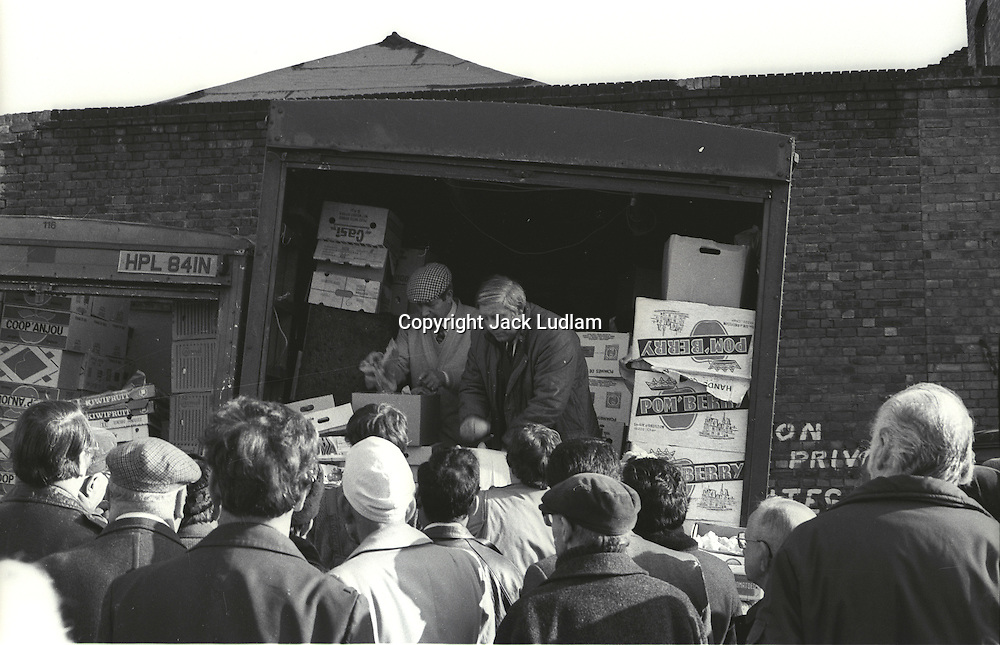 From Series of 7 Limited Edition (25) Large Framed Prints A3 Shot on film neg Black and White pictures Depicting Brick Lane Market London,  2 feb 1984 Photographer  Jack Ludlam<br /> £1,200