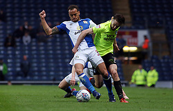 Gwion Edwards of Peterborough United in action with Elliott Bennett of Blackburn Rovers - Mandatory by-line: Joe Dent/JMP - 19/04/2018 - FOOTBALL - Ewood Park - Blackburn, England - Blackburn Rovers v Peterborough United - Sky Bet League One