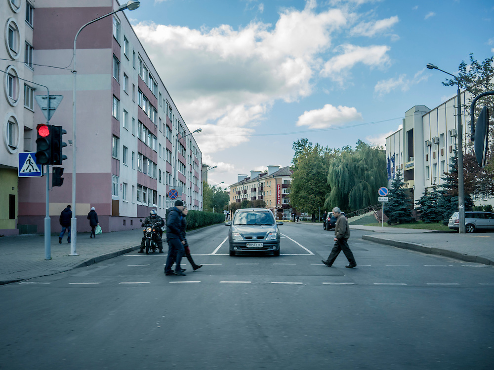 A street scene on Sunday, October 11, 2015 in Babruysk, Belarus. President Alexander Lukashenko was elected to a fifth term today in a vote that most international observers considered deeply flawed.