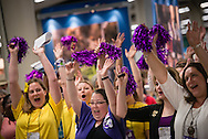 Participants cheer in the exhibit hall during the 36th Biennial Convention of the Lutheran Women's Missionary League on Friday, June 26, 2015, at the Iowa Events Center in Des Moines, Iowa. LCMS Communications/Erik M. Lunsford