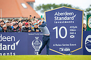 Rory McIlroy (NIR) hits his opening tee shot of his second round during the Aberdeen Standard Investments Scottish Open at The Renaissance Club, North Berwick, Scotland on 12 July 2019.