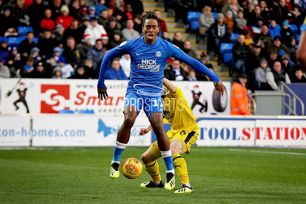 Peterborough United forward Ivan Toney (17) with a neat flick during the EFL Sky Bet League 1 match between Peterborough United and Oxford United at London Road, Peterborough, England on 8 December 2018.