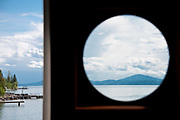 View of Flathead Lake through port hole