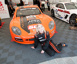 Christie with her Ginetta car..British Touring Car Championship at Knockhill, Sunday 4th September 2011. .© pic Michael Schofield.