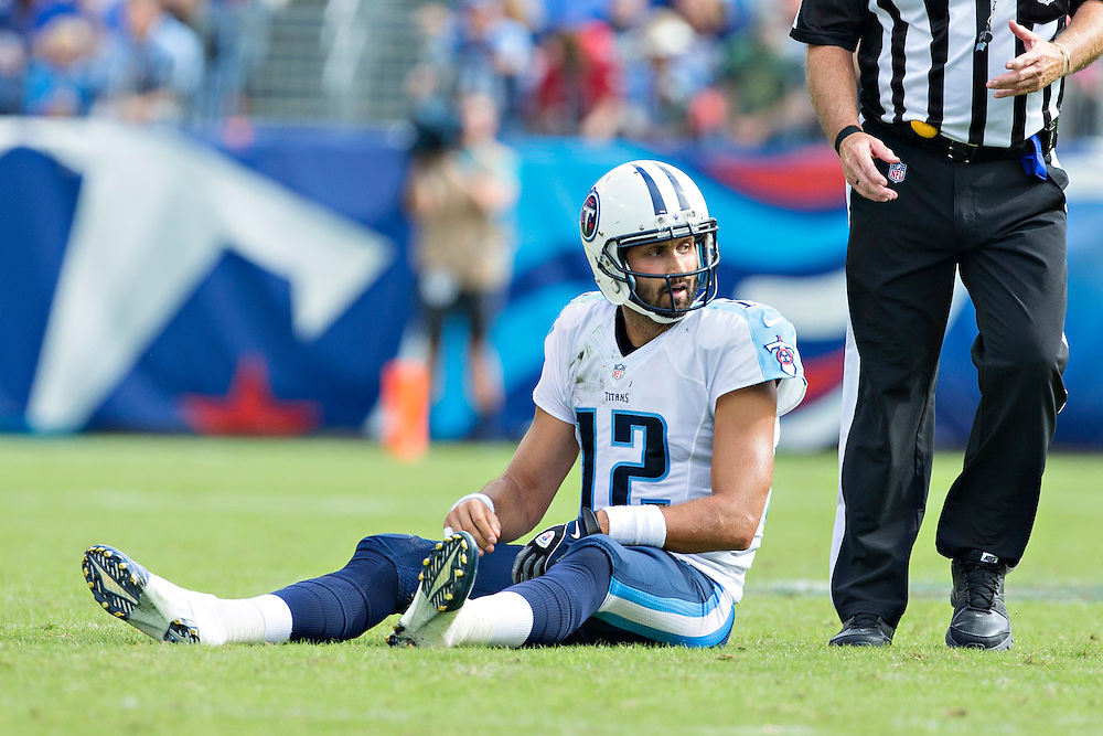 NASHVILLE, TN - OCTOBER 12:  Charlie Whitehurst #12 of the Tennessee Titans sits on the ground during a game against the Jacksonville Jaguars at LP Field on October 12, 2014 in Nashville, Tennessee.  The Titans defeated the Jaguars 16-14.  (Photo by Wesley Hitt/Getty Images) *** Local Caption *** Charlie Whitehurst