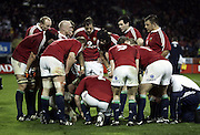 The Lions take time out for a team talk during the 1st test match between the New Zealand All Blacks and the British and Irish Lions at Jade Stadium in Christchurch, New Zealand on Saturday 25 June, 2005. The All Blacks won 21-3. Photo: Anthony Phelps/PHOTOSPORT<br />