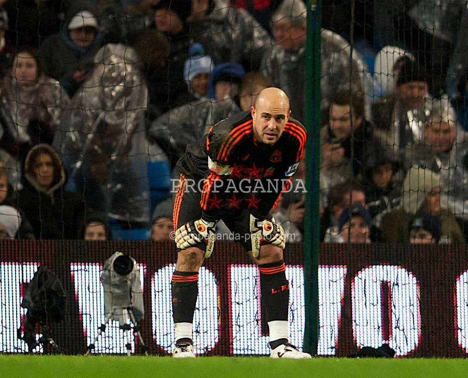MANCHESTER, ENGLAND - Tuesday, January 3, 2012: Liverpool's goalkeeper Jose Reina looks dejected after Manchester City's third goal during the Premiership match at the City of Manchester Stadium. (Pic by David Rawcliffe/Propaganda)