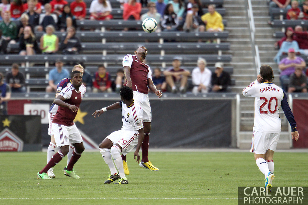 August 3rd, 2013 - Colorado Rapids midfielder Atiba Harris (16) elevates over Real Salt Lake defender/forward Abdoulie Mansally (29) to head the ball in the first half of action in the Major League Soccer match between Real Salt Lake and the Colorado Rapids at Dick's Sporting Goods Park in Commerce City, CO