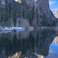 Three Brothers and reflection, Merced River. Yosemite National Park, CA