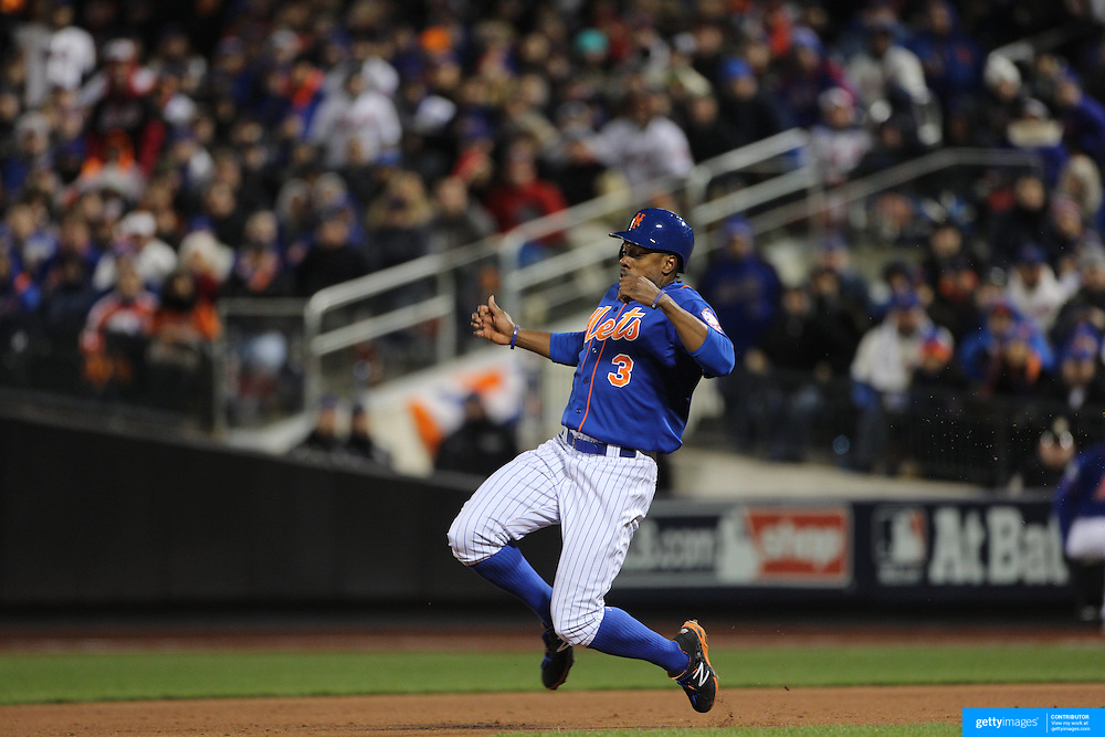 Curtis Granderson, New York Mets, steals second base during the MLB NLCS Playoffs game two, Chicago Cubs vs New York Mets at Citi Field, Queens, New York. USA. 18th October 2015. Photo Tim Clayton