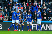 Dominic Calvert-Lewin (#29) of Everton celebrates Everton's first goal (0-1) during the Premier League match between Newcastle United and Everton at St. James's Park, Newcastle, England on 9 March 2019.